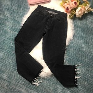 Vintage Levi's 501 Black Button Fly Raw Hem Jeans